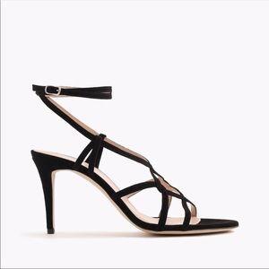 J. Crew Black Suede Cross Strap Heels Size 10.5